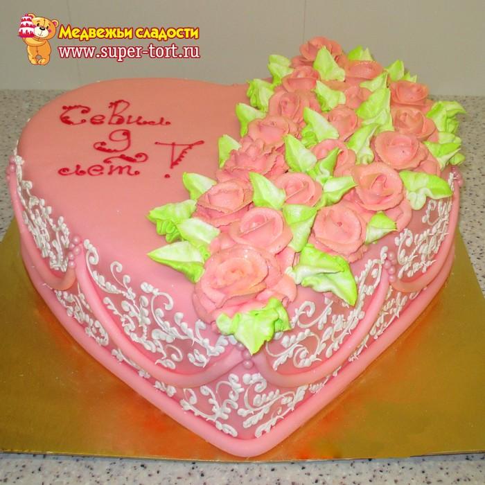 Торти серцем с цветами фото